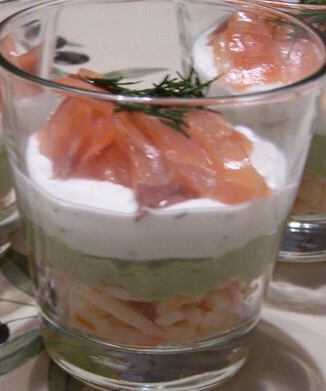 Salmon verrine, avocado
